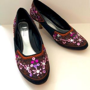 Anne Michelle Black Heels with Sequin Flowers
